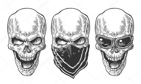 imagenes de calaveras a blanco y negro calavera con pa 241 uelo y gafas para moto ilustraci 243 n de