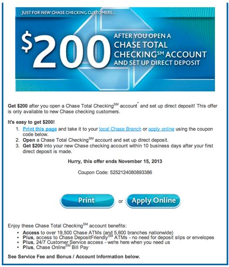 chase 200 business checking coupon