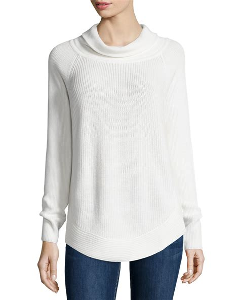 white turtleneck sweater vince ribbed turtleneck sweater w side zip in white lyst