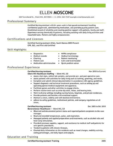Nursing Assistant Resume by Best Certified Nursing Assistant Resume Exle Livecareer