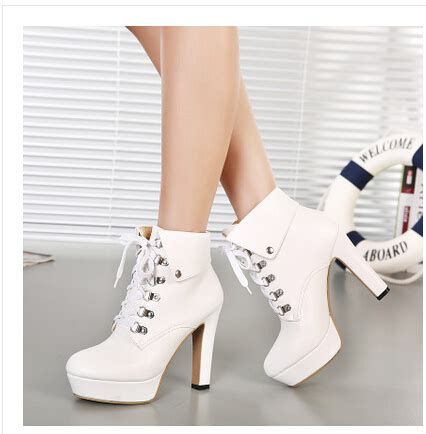 white high heel booties winter black ankle boots high heels platform