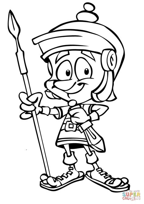 cartoon roman soldier with spear coloring page free
