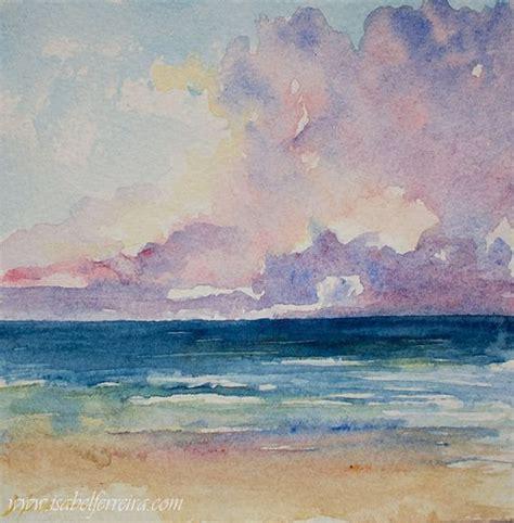 watercolor tutorial seascape original watercolor painting horizon beach painting