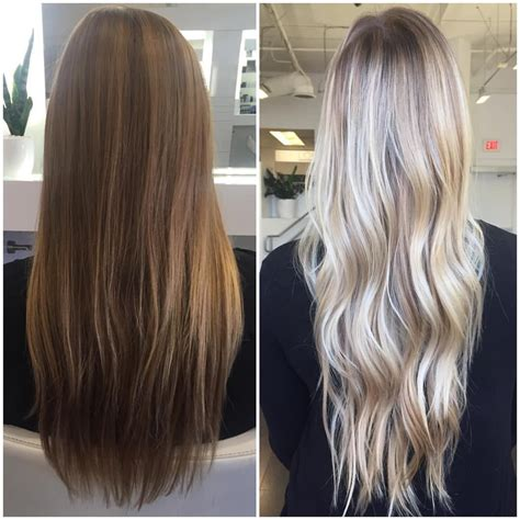 balayage highlights mid length hair before and after c o l o r b y b a i l e y on instagram before and after