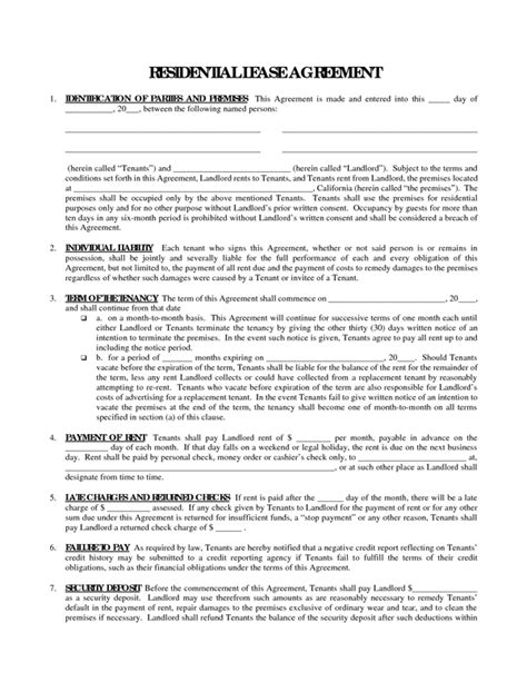 free house lease agreement template rent contract form sle forms