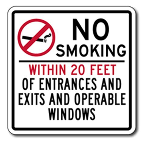 no smoking signs within 20 feet no smoking within 20 feet entrances exits operable windows