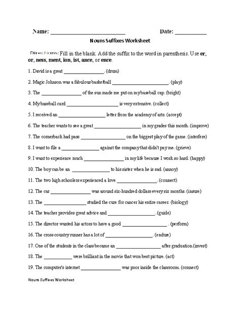 Suffixes Worksheets Pdf by Regular Nouns Worksheets Nouns Suffixes Worksheet