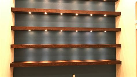 build wall to wall shelves with recessed lights youtube