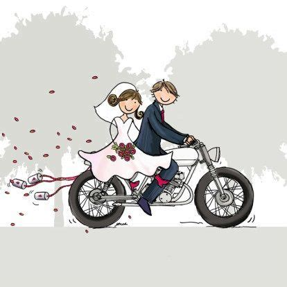 motorcycle clipart bride and groom pencil and in color