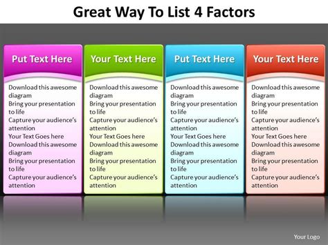 great way to list 4 factors editable powerpoint slides