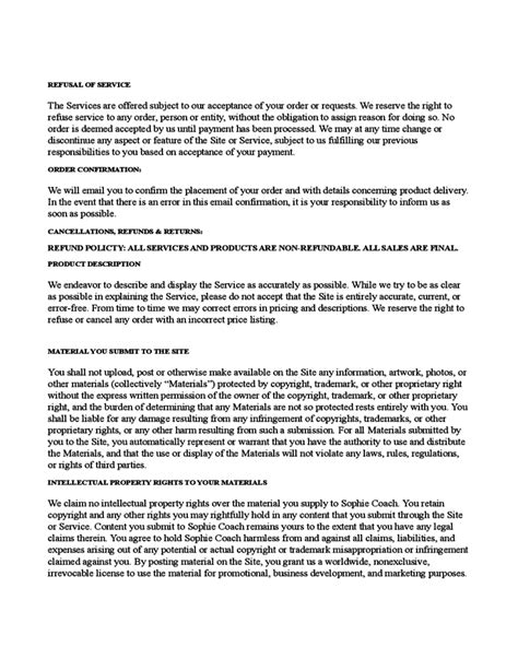 terms and condition template sle terms and conditions template free