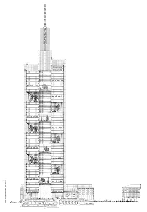 full section foster partners section commerzbank tower frankfurt