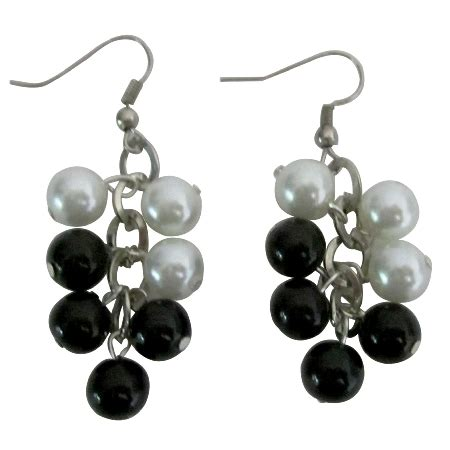 black white pearls earrings synthetic pearls chandelier