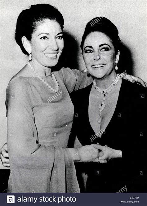 maria callas queen elizabeth actress elizabeth taylor with singer maria callas stock