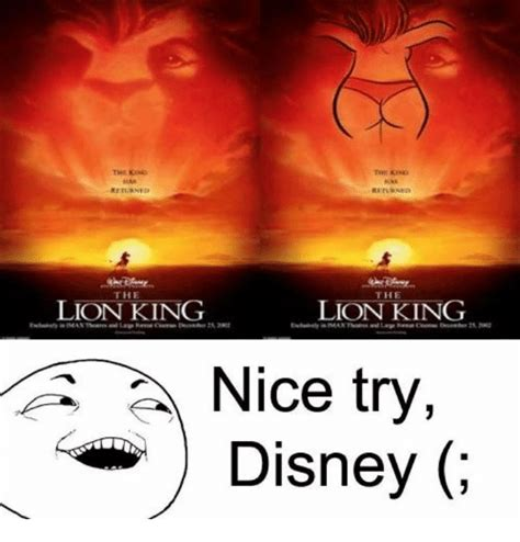 Lion King Schenectady Meme - returned returned the the lion king lion king nice try
