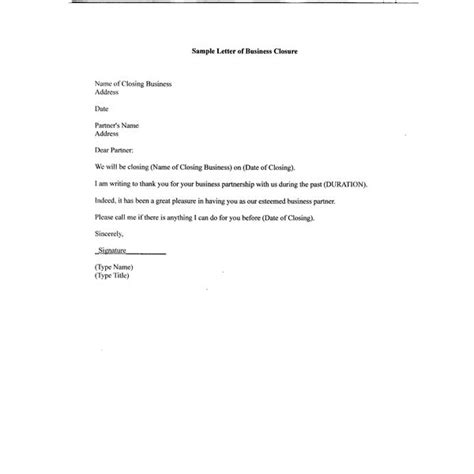 Closing Business Account Letter Template Free Sle Letter Of Business Closure For Your Partners