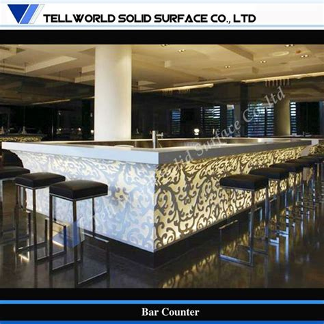bar counter tw led lighting design artificial stone commercial bar