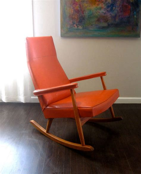 Cool Upholstered Chairs Design Ideas Rocking Chair Design Orange Rocking Chair 1950s Upholstered Mid Century Modern Style Living
