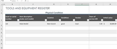 tools  equipment register template excel templates