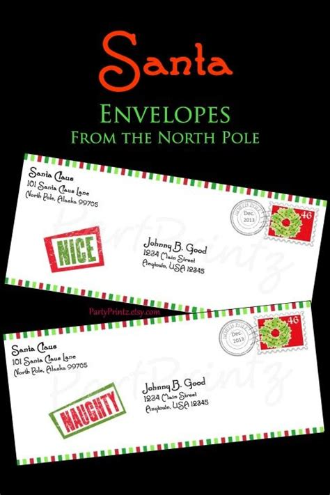 printable envelope from north pole printable santa envelope from his north pole workshop