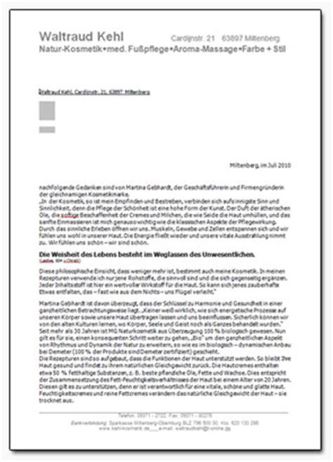 Terminanfrage Brief Kundenbrief Kehl Kosmetik Waltraud Kehl
