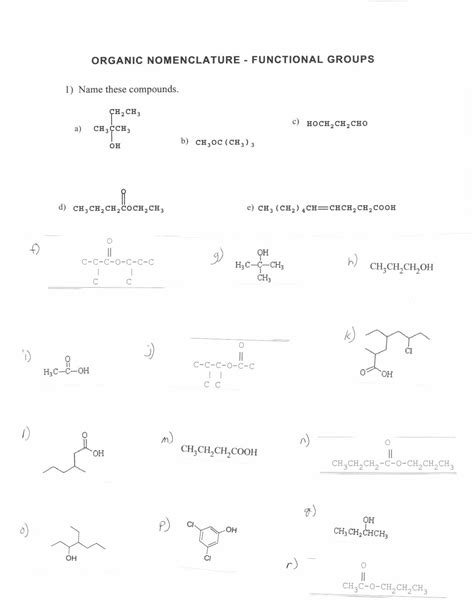 9 best images of functional group practice worksheet organic chemistry functional groups