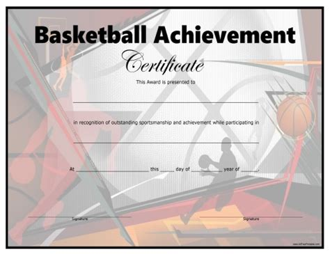 basketball certificate templates basketball certificate free printable allfreeprintable