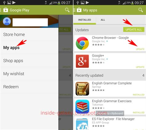 Play Store Upgrade Samsung Galaxy S4 How To Update Applications