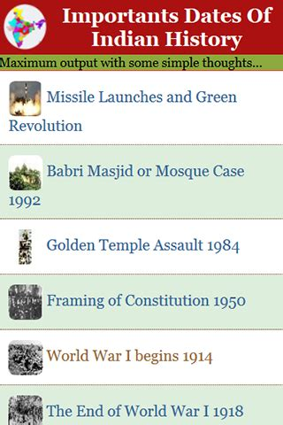 free importants dates of indian history apk download for