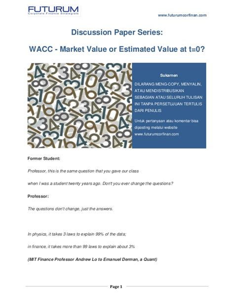 update futurum discussion paper series wacc using market
