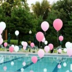 pool decorations helium filled balloons to weights in pool if you