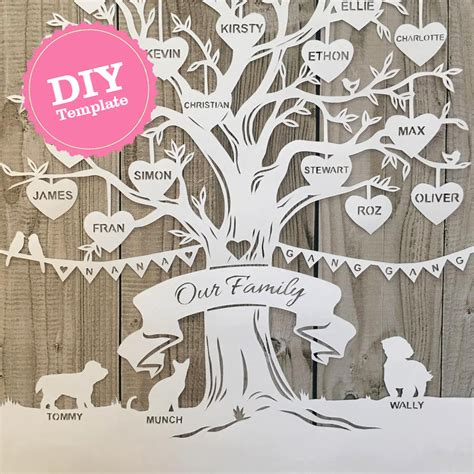diy printable family tree diy family tree papercutting template by samanthapapercuts