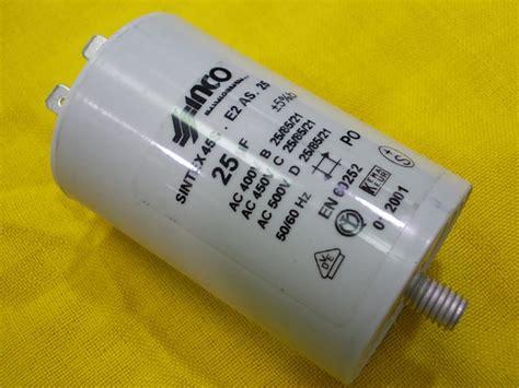 inco capacitor 25mf 450vac condensatore inco con faston