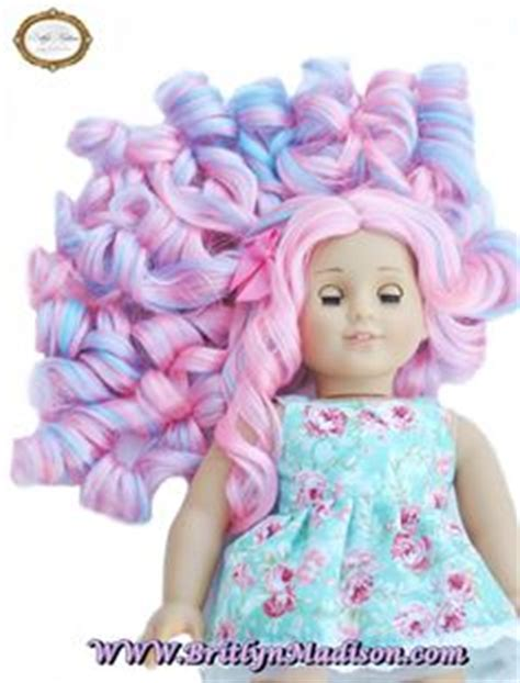 Candydoll Wig Blue Pink quot fox quot fairytale doll wig for custom american dolls size 10 11 dolls american