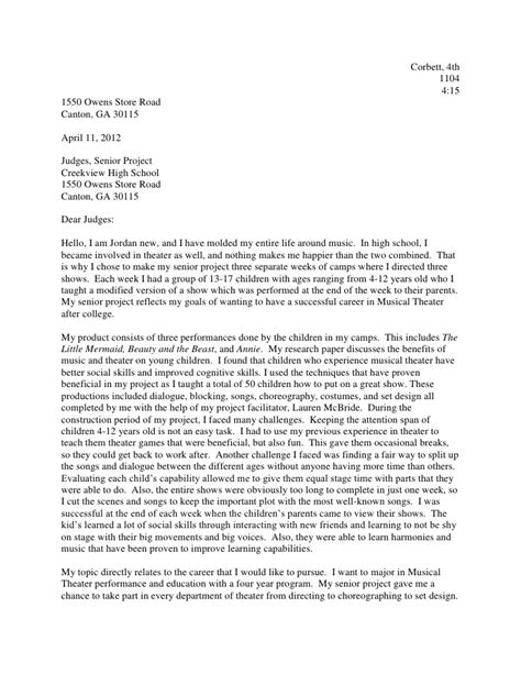 Letter For Senior Project Senior Project Letter To Judges New 2011 2012