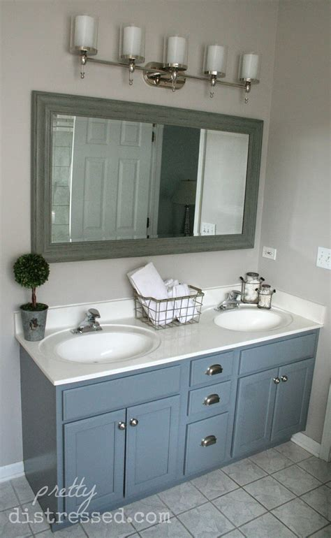 Pretty Distressed Bathroom Vanity Makeover With Latex Paint Painting Bathroom Vanity Before And After