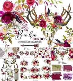 Hibiscus Flower Fabric - boho marsala watercolor flowers free download