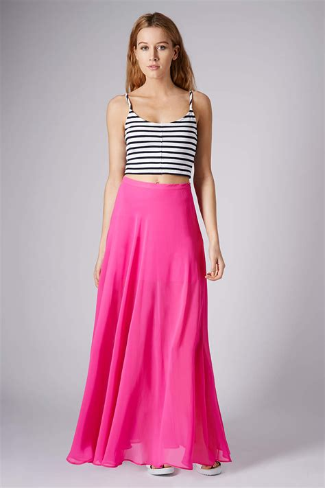 black chiffon maxi skirt 100 images guess by lyst topshop pink chiffon maxi skirt in pink