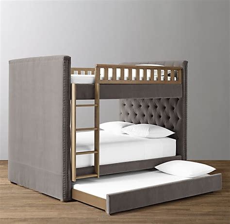 Tufted Bunk Bed Chesterfield Tufted Velvet Bunk Bed With Trundle