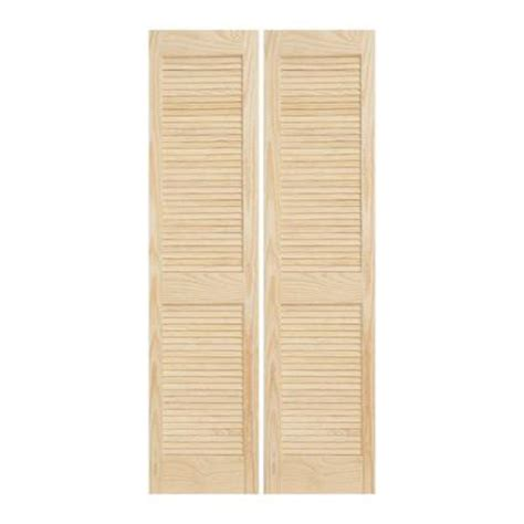 jeld wen 30 in x 80 in woodgrain 2 panel full louver solid core wood interior closet bi fold