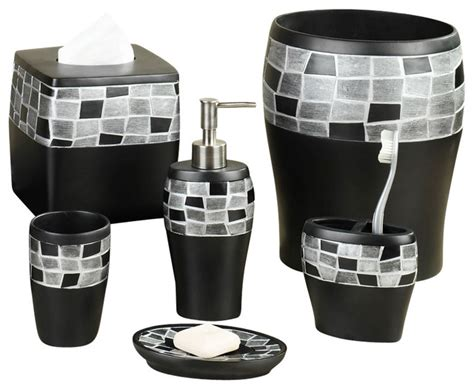 Black Bathroom Accessory Set Popular Bath 6 Mosaic And Resin Bath Accessory Set Black View In Your Room Houzz