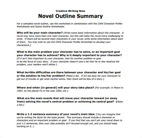 novel notes template outline template 78 free word pdf psd ppt format