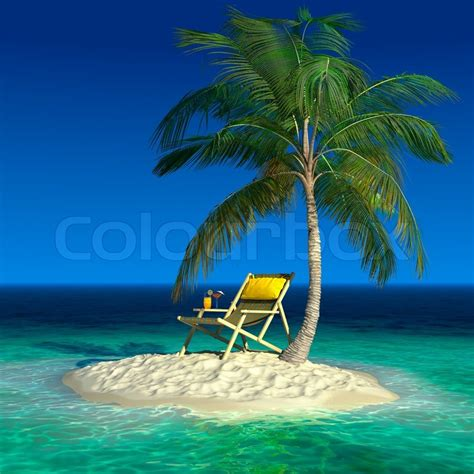 with palm tree island realistic recreation concept a palm tree on a small