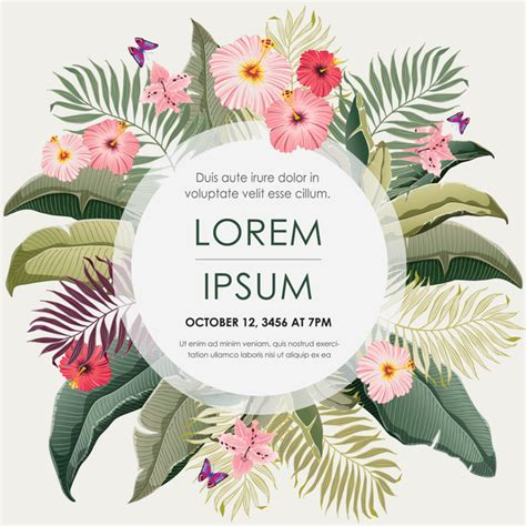Flower Card Templates by Autumn Invitation Card Template With Flower Vector 05 Free