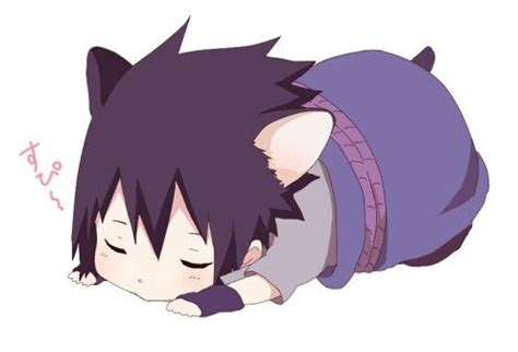 Kaos Anime Uchiha Clan 3 Colours Shirt Sa Nrt 24 sasuke being neko while sleeping anime chibi stickers and so