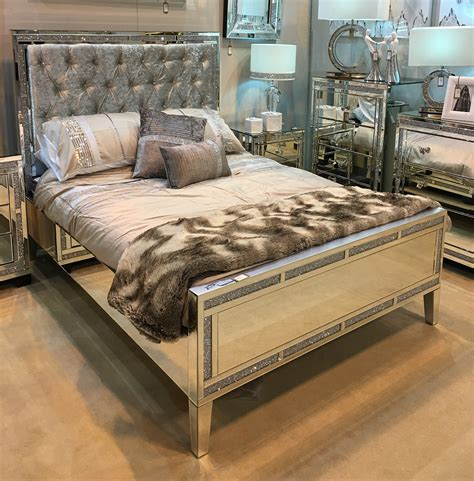 mirrored queen bed queen size mirror bed frame with tufted upholstered