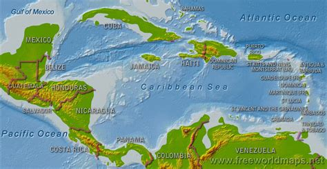 central america and the caribbean physical map central america physical map freeworldmaps net