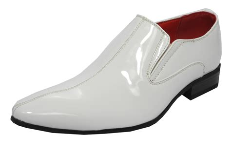 mens white dress boots mens patent leather lined pointed toe slip on dress shoes