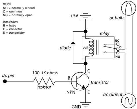 5 volt relay circuit diagram for controlling ac current