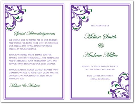 Green Purple Swirls And Scrolls Bi Fold Template Downloadble Stationery 35478 Bi Fold Wedding Program Template